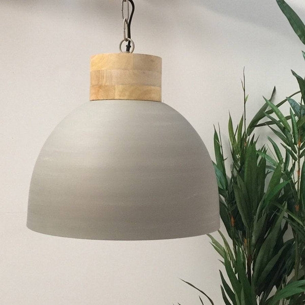 Spun Metal Pendant Lamp in Grey with Rustic Wooden Top - Farthing