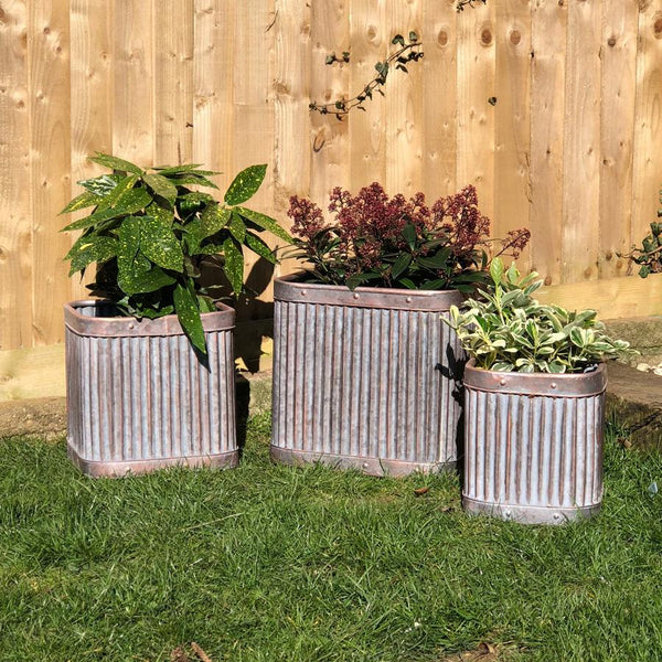 Square Copper Vence Fluted Planter Set | Farthing