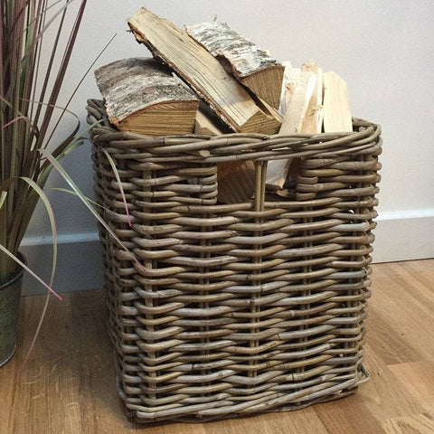 Square Log Basket in Rattan - The Farthing