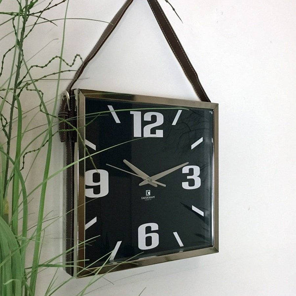 Square Nickel Faux Leather Satchel Wall Clock - The Farthing