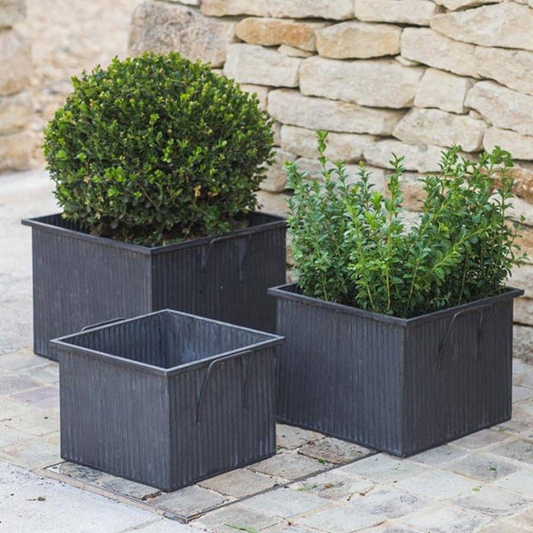 Square Rustic Vence Planters - Set of Three - The Farthing