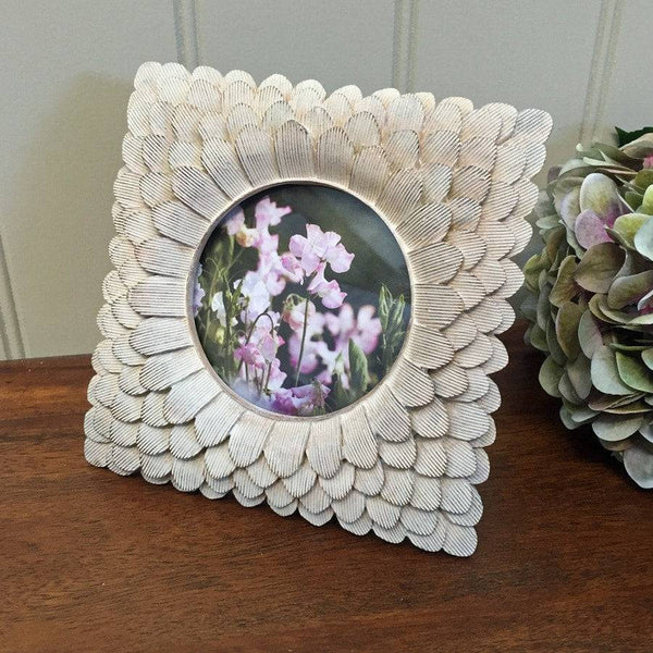 Square Shabby Chic Feather Photo Frame - The Farthing
