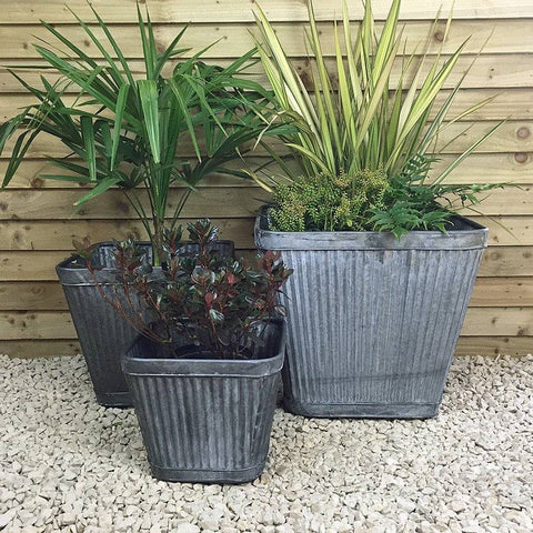 Square Tapered Fluted Galvanised Planter at the Farthing