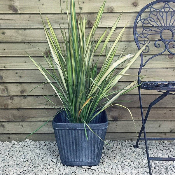 Square Tapered Fluted Galvanised Planter - small