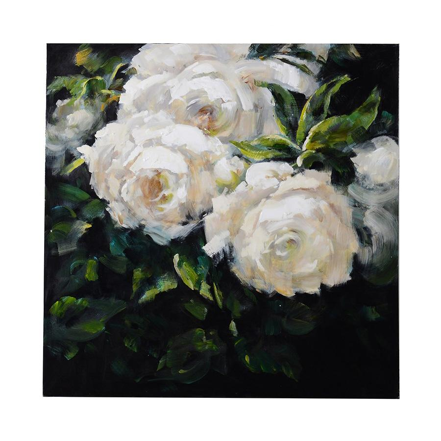 Square White Roses Canvas | Farthing 21