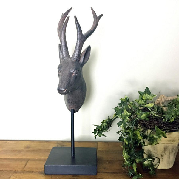 Stags Head Statue on Plinth | Farthing