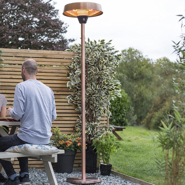 Standing Burnished Copper Outdoor Heater at the Farthing