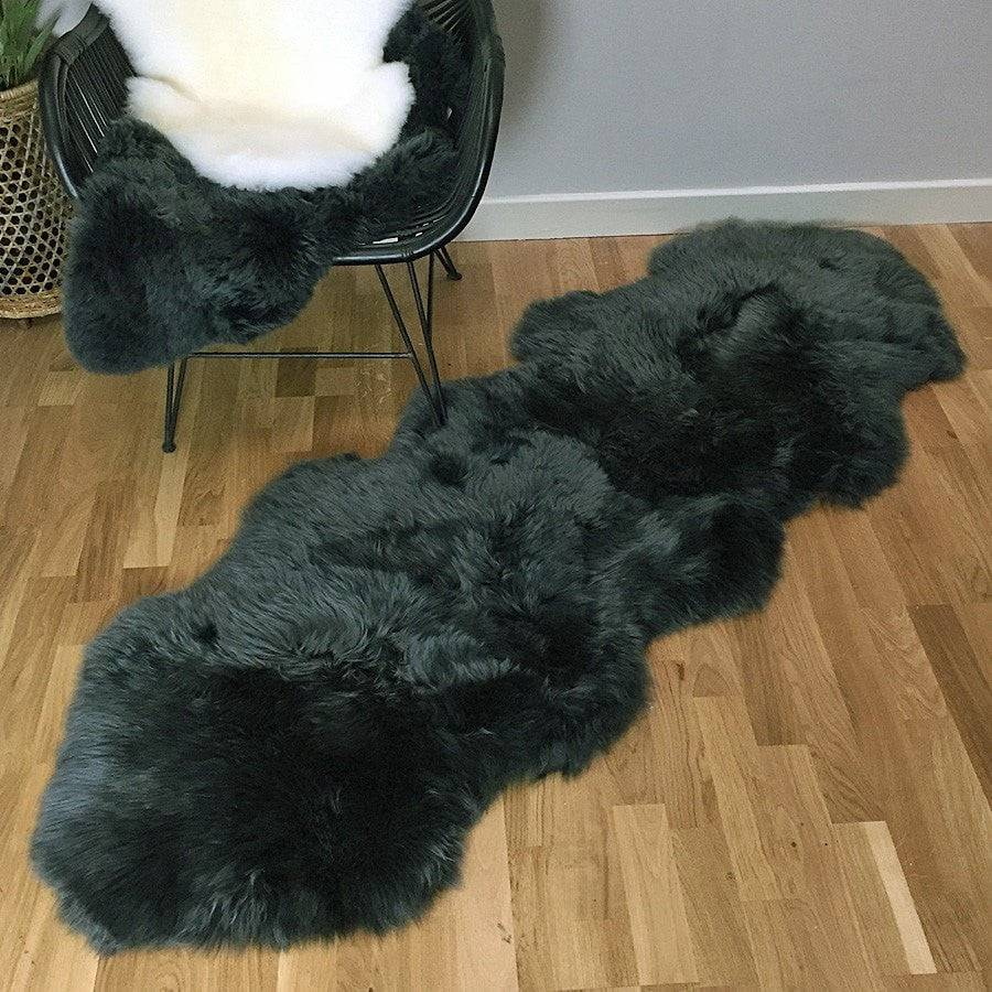 Sumptuous Sheepskin Double Rug - Seal Grey - The Farthing