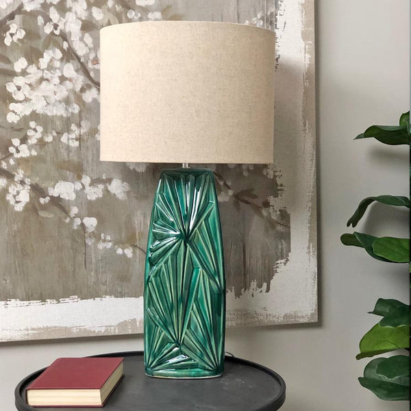 Swan age Green Table Lamp & Shade | Farthing 1
