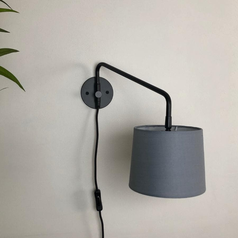 Swinging Arm Wall Light  - Grey Shade | Farthing