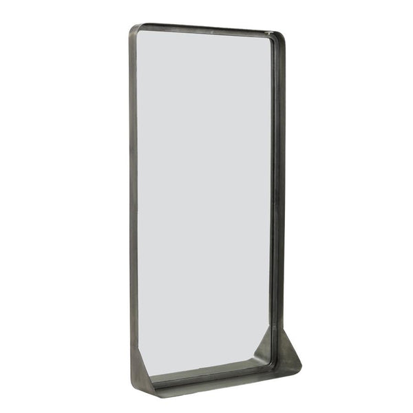 Tall Aged Zinc Portrait Wall Mirror Shelf at the Farthing