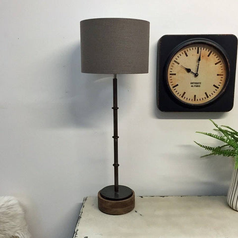 Tall Industrial Chic Metal Table Lamp & Drum Shade - The Farthing