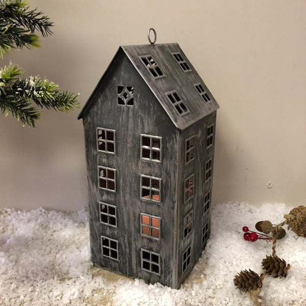 Tall Metal Tea Light Christmas House | Farthing