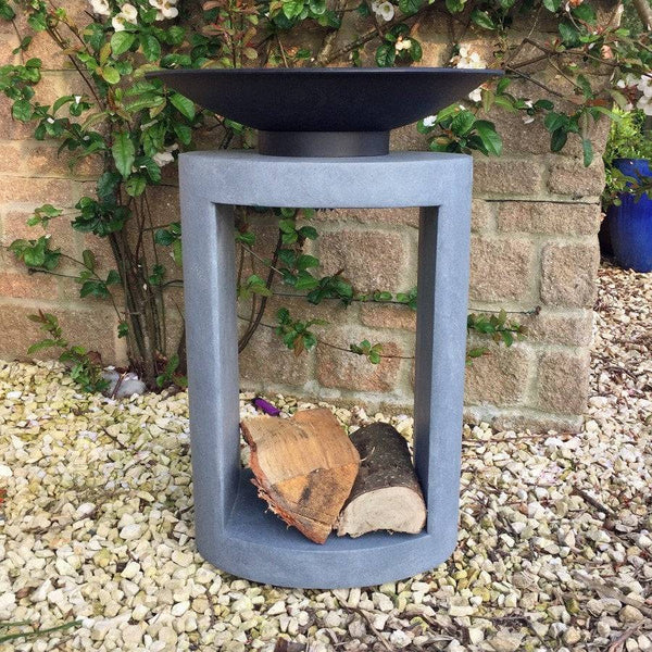 Tall Oval Fire Bowl With Concrete Stand & Log Holder - The Farthing