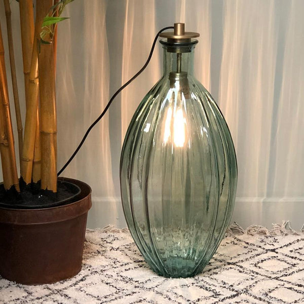 Tall Ribbed Glass Broadwindsor Vase Lamp | Farthing Lighting