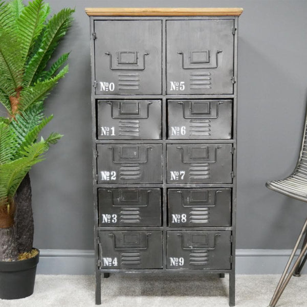 Tall Wood Topped Industrial Steel Cabinet