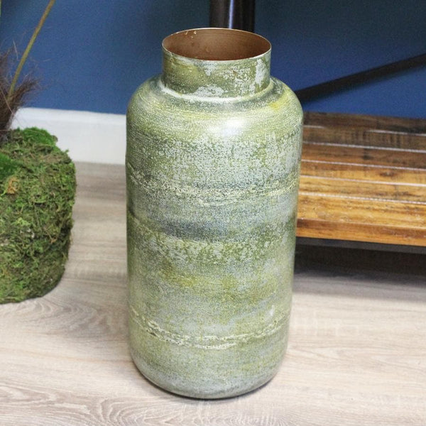Tall Distressed Green Vase at the Farthing 1