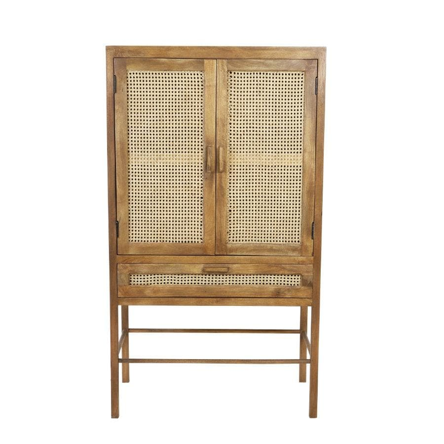 Tall Double Door Wooden Webbed Cabinet at the Farthing