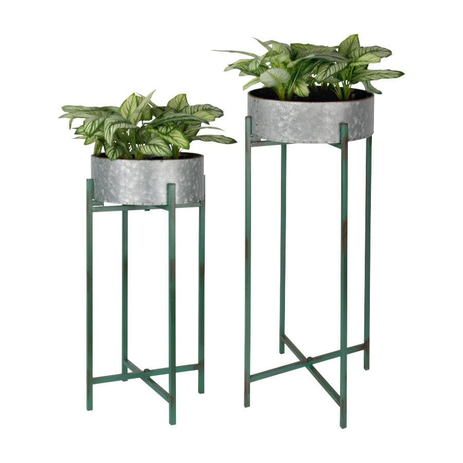 Raised Round Metal Plant Pot - On Stand | The Farthing