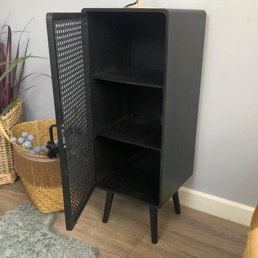 Tall Single Door Black Webbed Cabinet at the Farthing  4