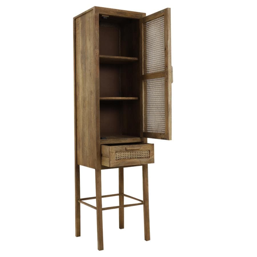 Tall Single Door Wooden Webbed Cabinet at the Farthing