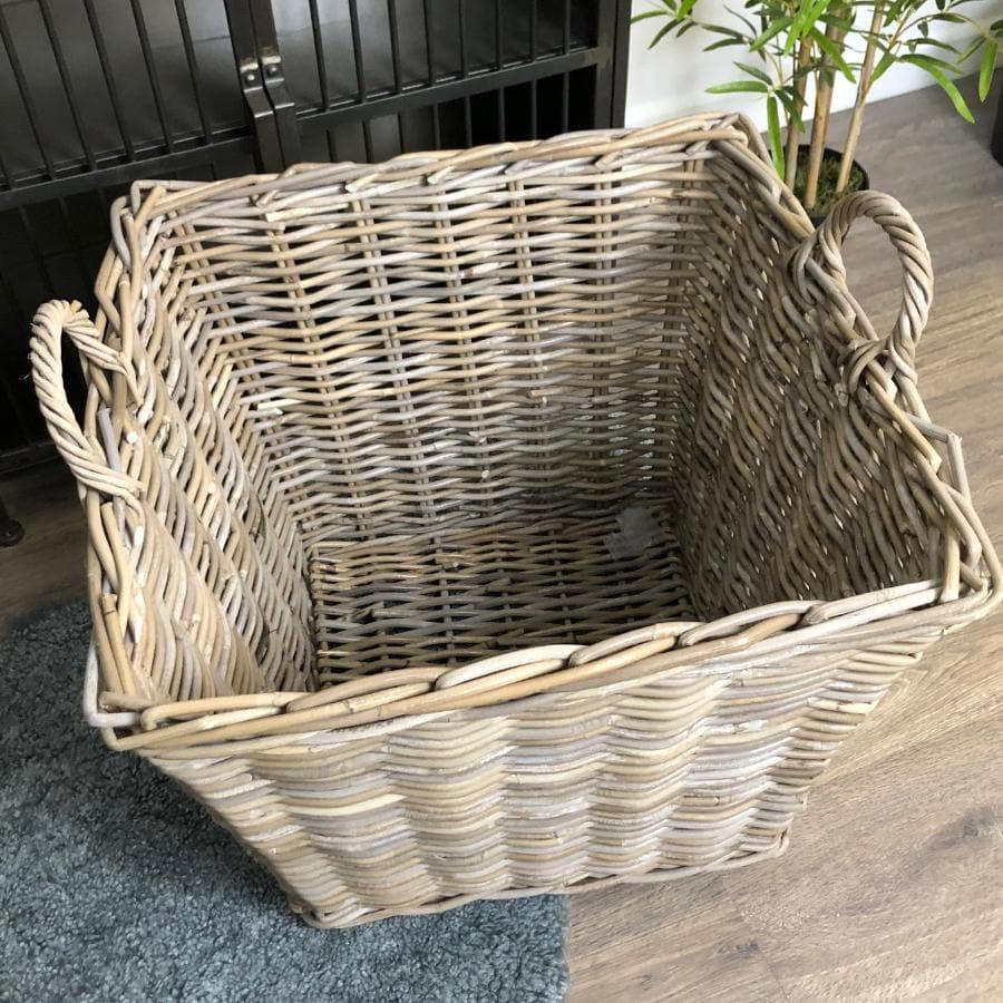 Tapered Grey Rattan Storage Basket