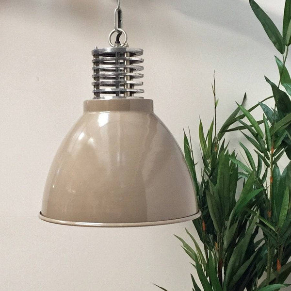 Taupe & Raw Nickel Industrial Pendant Light
