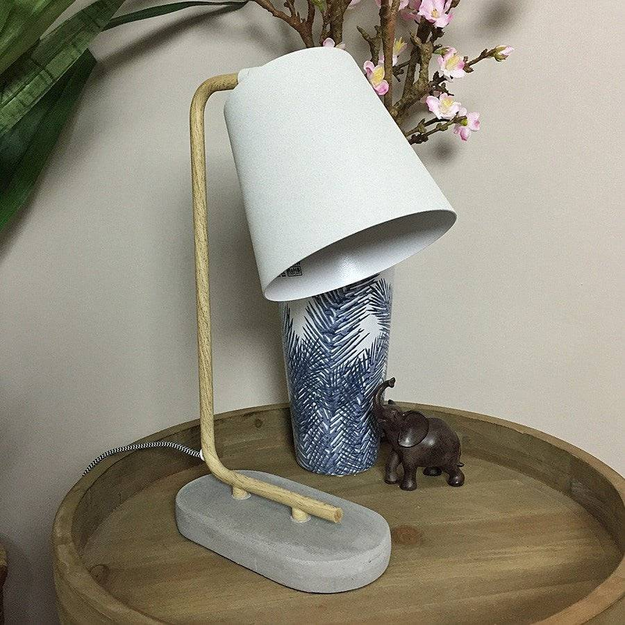 Textured Grey & Concrete Desk Lamp - The Farthing