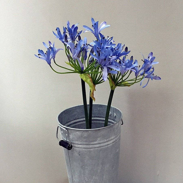 Three Faux Blue Agapanthus Flower Stems - The Farthing