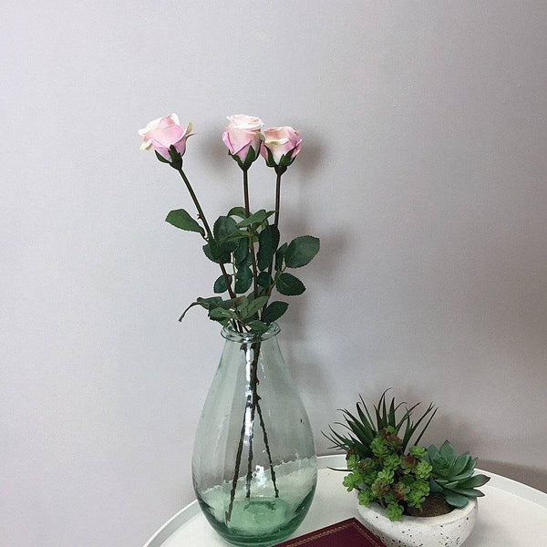 Three Faux Rose Stems - Light Pink | The Farthing