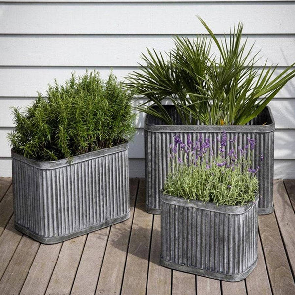 Three Galvanised Fluted Zinc Planters - Farthing