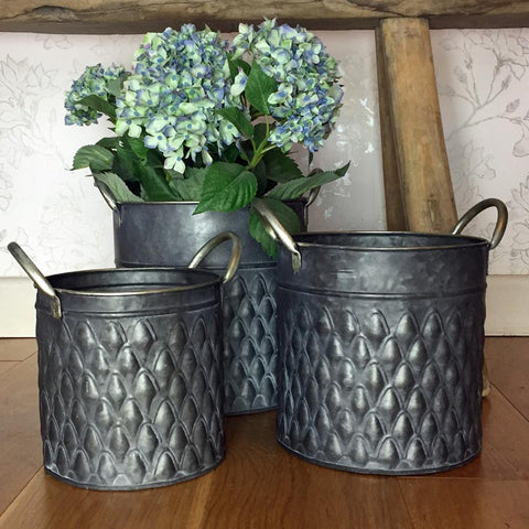 Three Metal Indoor Pots at the Farthing 1