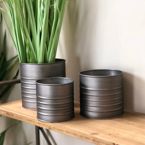 Three Ribbed Metal Indoor Pots | Farthing