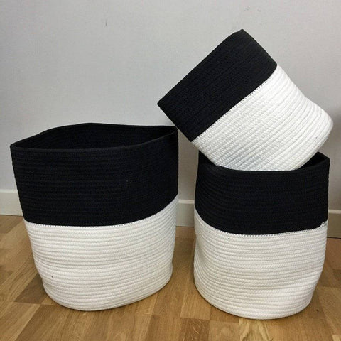 Three Woven Cotton Storage Baskets - The Farthing