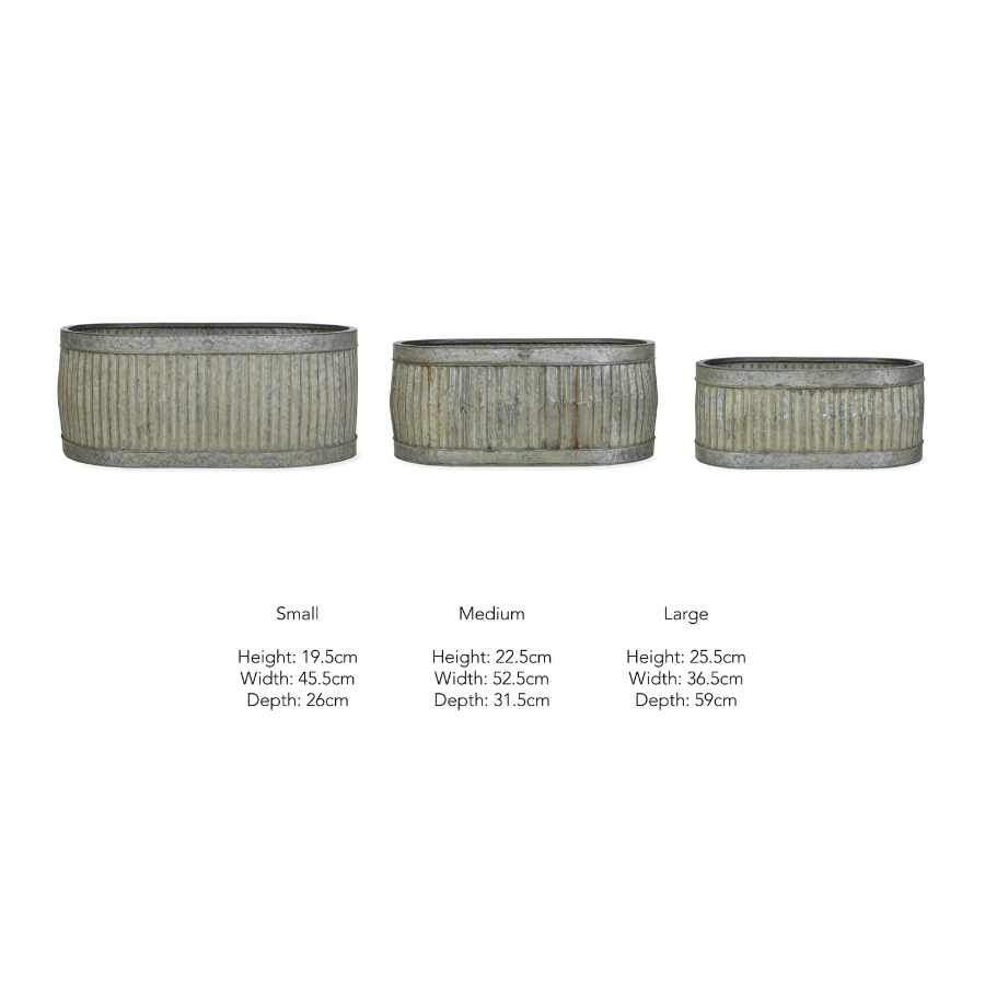 Three Oval Fluted Planter Trough Set 1