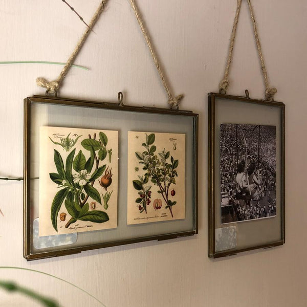 Two Delicate Hanging Frames - Brass | The Farthing 1