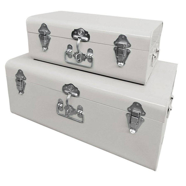 Two Metal Storage Trunks - Ivory White - The Farthing