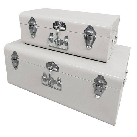 Two metal storage trunks ivory white the farthing