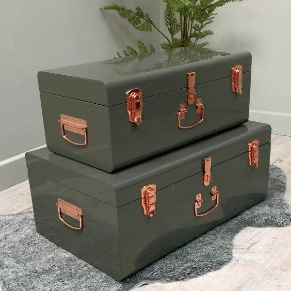 Two Metal Storage Suitcase Trunks - Olive Green & Copper 1