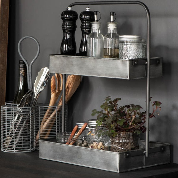 Two Tier Metal Storage Shelf at the Farthing