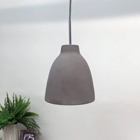 Vintage Chic Cement Pendant Light with Reflector - The Farthing  - 1