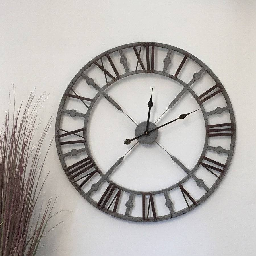 Vintage distressed grey skeleton wall clock shabby clocks uk vintage distressed grey skeleton wall clock the farthing 1 amipublicfo Image collections