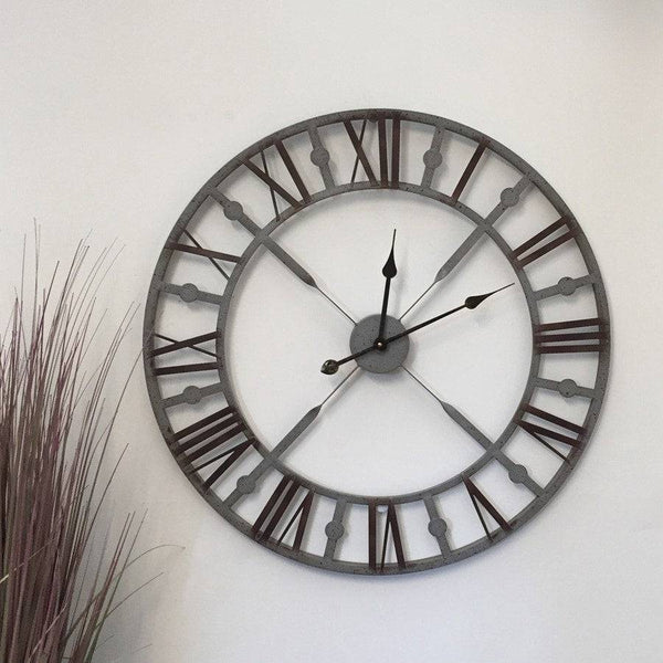 Vintage Distressed Grey Skeleton Wall Clock - The Farthing  - 1