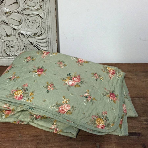Vintage English Rose in Sage Green Padded Quilt - The Farthing  - 1