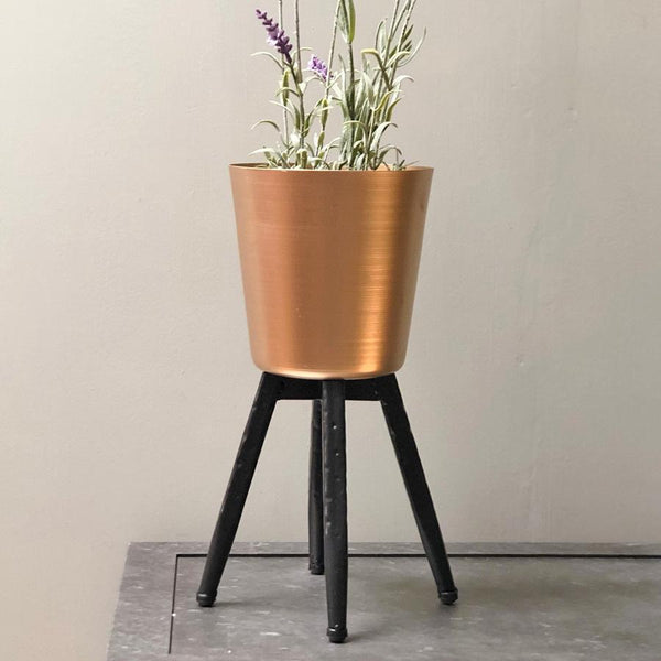 Vintage Gold Footed Metal Plant Pot at the Farthing