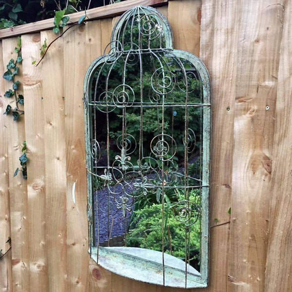 Vintage Green Provence Metal Garden Mirror | The Farthing