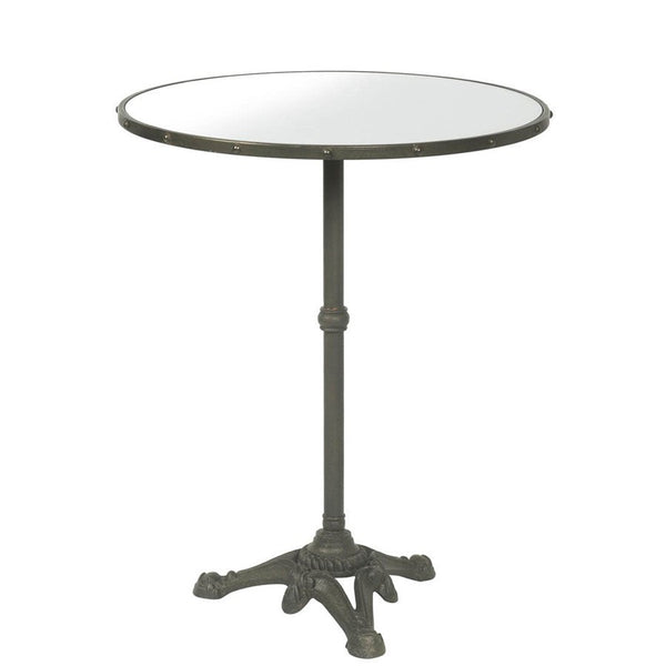 Vintage Inspired Industrial Iron Side Table with Mirrored Top - The Farthing