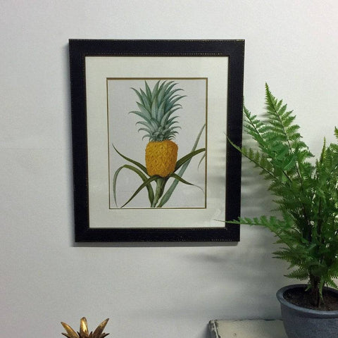 Vintage Pineapple Print in Rustic Black Frame #2