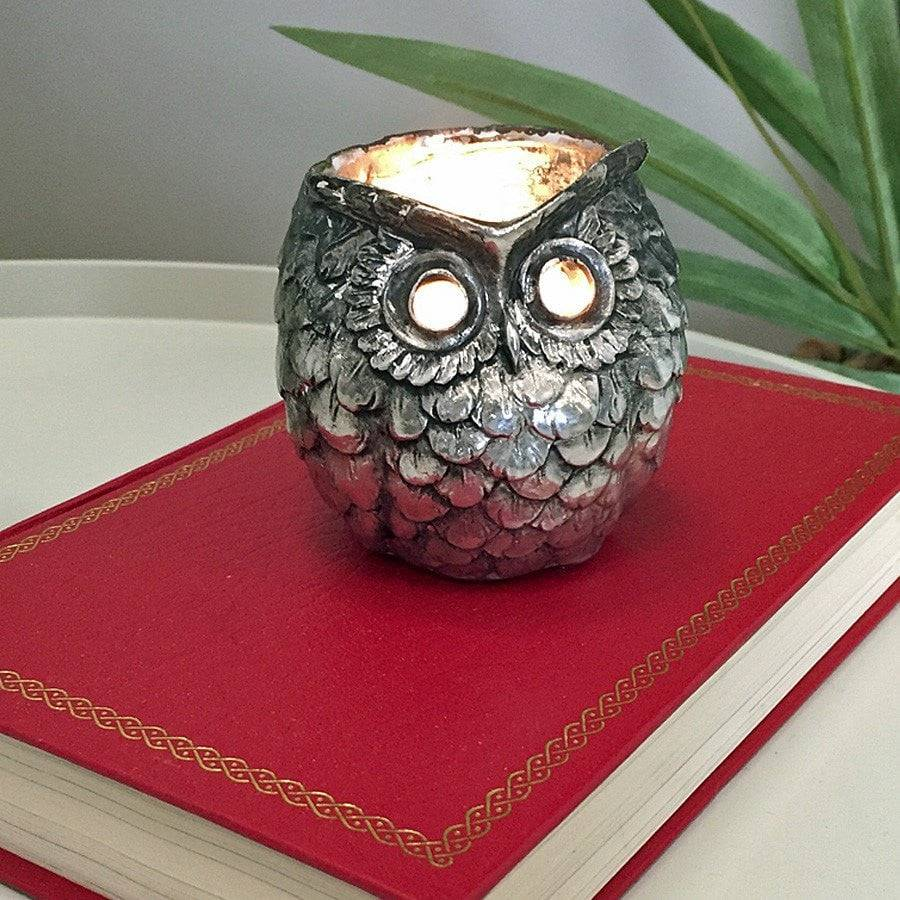 Vintage Silver Owl Tea Light Holder - The Farthing