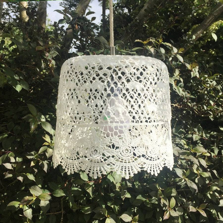 Vintage Style Battery Powered Lace Lampshade - The Farthing